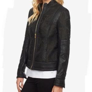 FDJ French Dressing Faux Leather Motto Jacket, M